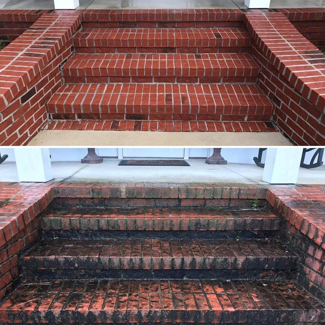 Mildew Removal on Brick Entryway